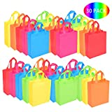 BOENFU 30 Pcs Party Bags with Handles Non-Woven Gift Tote Bags Toy Goody Sweet Bags for Kids' Birthday, Halloween, Christmas, Thanks Giving Days, Wedding Party Supplies
