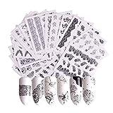 Gwolf Nagelsticker Selbstklebend, 40 Blatt Nagelaufkleber Selbstklebend Blumen, Nail Art Sticker Nagel Wasserzeichen Decals Set Blume Nail Sticker Dekorationen für Kinder Mädchen