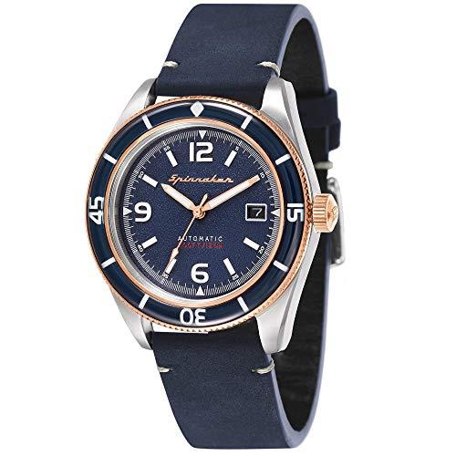 SPINNAKER Fleuss Herren-Armbanduhr 43mm Armband Leder Automatik SP-5055-04