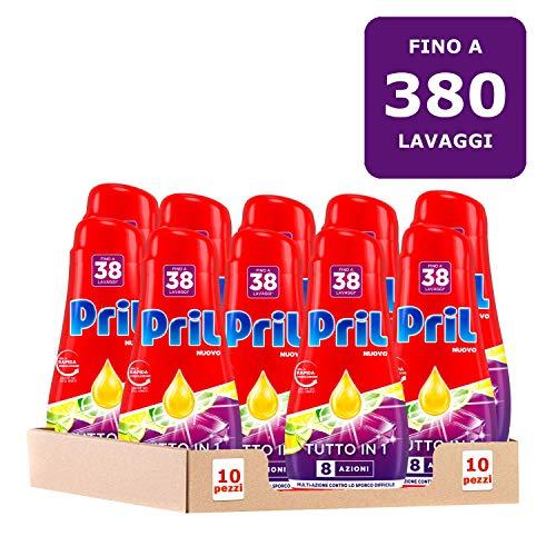 Pril Gel All in One Limone Detersivo Lavastoviglie Liquido Multi-Azione Sporco Difficile, 10...