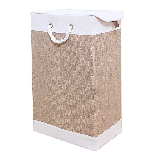 WM Homebase Wäschekorb Stoff Faltbare für Kinderzimmer Bad oder Schlafzimmer Organizer Korb Wäschesammler Bodenkorb mit Deckel 36x21x60 cm