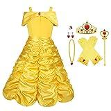 Vicloon Disfraz de Princesa Belle Vestido y Accesorios para Niñas, Corona Anillo Sceptre Collar Pendientes Guantes, para Fiesta Cosplay,Navidad,Fiesta de cumpleaños,Halloween