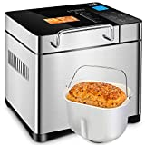 KBS 750W Bread Maker with Auto Fruit Nut Dispenser, 2.2LB XL Capacity Bread Machine with Nonstick Ceramic Pot, 17 Smart Presets LED Digital Touchscreen, 3 Loaf Sizes 3 Crust Colors, Reserve, Keep Warm