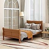Wood Platform Bed TwinBed Frame Mattress Foundation Sleigh Bed with Headboard/Footboard/Wood Slat Support - Oak