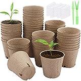 Lot de 50 pots de tourbe Pots de semis de 8 cm Pots de démarrage de semences biodégradables Pots de démarrage de germination biologique avec 50 étiquettes de plantes et 2 démarreurs de semences