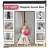 72x80 Fiberglass Magnetic Screen Door - Mkicesky [Upgrade Reinforced Mesh] for French Door/Sliding Door, with Hands-Free, Kids/Pets Entry Freely, Full Frame Hook&Loop, Keep Bugs Out