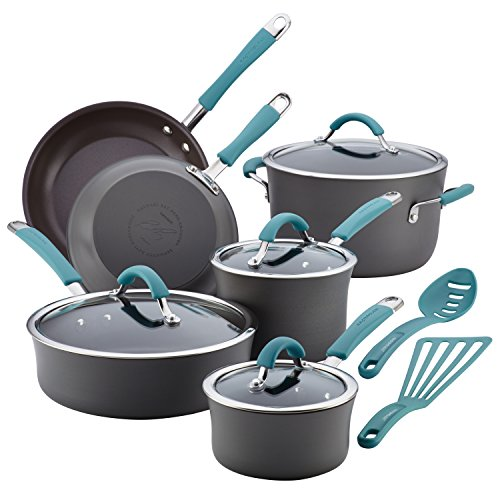 Rachael Ray 87641 Cucina Hard Anodized Nonstick Cookware Pots and Pans Set, 12 Piece, Gray with Blue Handles
