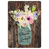Blessed & Grateful Floral Mason Jar Wood Look 2.5 x 3.5 Inch Wood Lithograph Magnet