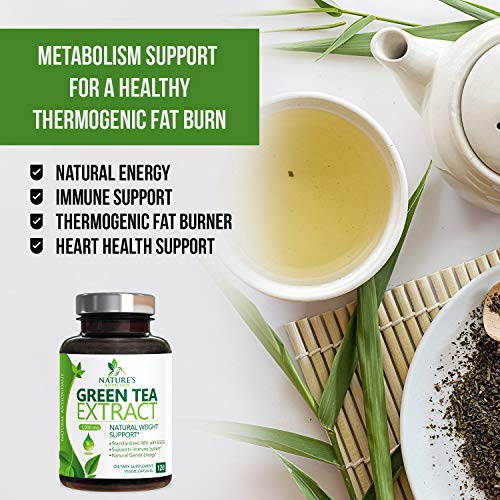 Green Tea Extract 98% Standardized EGCG Weight Loss 1000mg - Boost Metabolism for Healthy Heart - Antioxidants & Polyphenols - Gentle Caffeine, Fat Burner Pills, Made in USA - 120 Capsules 5
