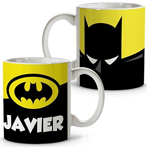 Taza Superhéroes Personalizada con Nombre. Regalo Friki. Varios Diseños y Colores Interior. Batman