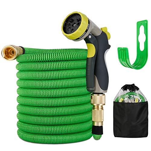 BITIWEND Flexibler Gartenschlauch | ausgedehnt 15m |Wasserschlauch flexibel mit 3-Fach Latexkern | dehnbarer flexiSchlauch | alle Verschraubungen aus hochwertigem Messing