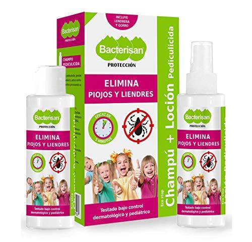 BACTERISAN Bacterisan Pack Pediculicida - Elimina piojos y liendres 100ml   Champú y Loción anti piojos   Lendrera + gorro de regalo 100 ml