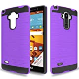 Wtiaw:LG G Stylo Case,LG LS770 Case,LG G4 Stylus Case,LG G Stylo H631/G Stylo MS631 Case,LG G Stylo Phone Cases,[Brushed Metal Texture] Hybrid Dual Layer Defender Case for LG LS770-CL Purple