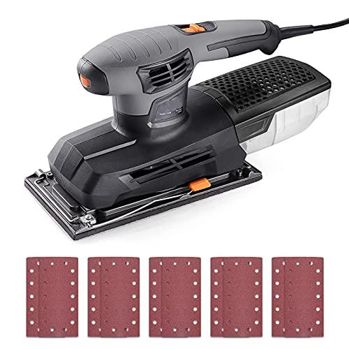 Ponceuse Vibrante 300W, 6 Vitesses réglables (6000-12,000RPM), Surface grande 230x115mm, 10*Papiers abrasifs inclus, Dépoussiérage, Système de Fixation du Papier abrasif