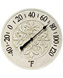 Blanc Fleur 15 inch Decorative Outdoor Thermometer for Garage, Patio, Backyard, Outdoor Wall, Fence Outdoor Thermometer Decorative Patio Thermometer Vintage Antique Aged White Ivory Easy to Read