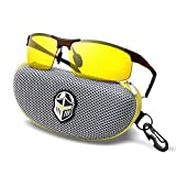 BLUPOND Night Driving Glasses - Semi Polarized Yellow Tint HD Vision Anti Glare Lens - Unbreakable Metal Frame with Car Clip Holder - Knight Visor (Brown)