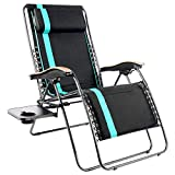 PORTAL Padded Zero Gravity Lounge Chair, Oversized XL Folding Patio Lawn Recliner Chairs with Headrest Side Table,Support 350lbs