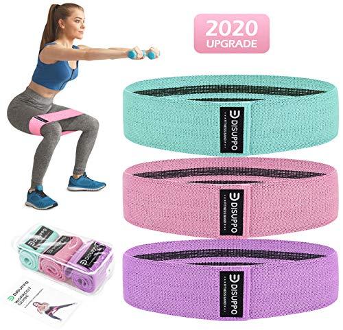 DISUPPO Bande Elastica Fitness 3 Set, Fasce Elastiche di Resistenza per Esercizi Glutei, Yoga,...