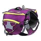 Pettom Adjustable Service Dog Supply Backpack Saddle Bag for Camping Hiking Training (Large, Purple)