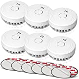 Ecoey Smoke Alarm Fire Detector with Photoelectric Technology and Low Battery Signal (Battery Include), Fire Alarm with Test Function for Home, Bedroom, FJ136GB, 6 Packs