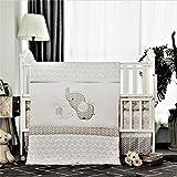 La Premura Baby Elephants Nursery Crib Bedding Sets – Gray Elephants & Puppy 3 Piece Standard Size Grey Crib Set - Unisex Nursey Bedding and Neutral Decor