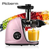 Juicer Machines, Picberm PB2110V Slow Masticating Juicer Extractor with Quiet Motor Easy to Clean, BPA-Free Cold Press Anti-clogging Juicer with Peeler, Brush & Recipes for Fruits and Vegetables, Rose Gold