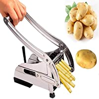 Made of premium stainless steel, no rusting and durable. Removable parts for easy cleaning. Non slip rubber feet, safe for using. Potato chipper with interchangeable cutters for home-made chips. Sharp cutting blades slice through potatoes and other v...