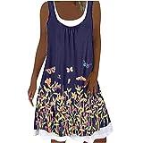 Robe d'été pour femme - Robe midi sans manches - Longueur genoux - Boho -...