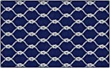 Brumlow MILLS Nautical Rope Ocean Trellis Knot Area Rug for Beachy Home Décor, 5' x 8', Rectangle, Blue