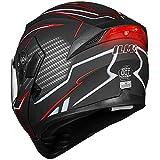 ILM Motorcycle Dual Visor Flip up Modular Full Face Helmet DOT LED Lights (S, BLACK RED - LED)
