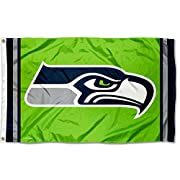 3' x 5' in Size with Two (2) Metal Grommets for attaching to your Flagpole Made of 100% Polyester with Quadruple Stitched Flyends for Durability, 150d Thickness, Imported Screen Printed Team Logos are Viewable from Both Sides (Opposite Side is a Reve...