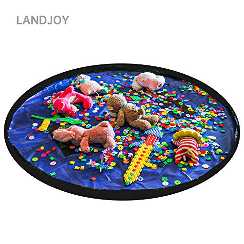 LandJoy Kinder Aufräumsack Baby Spielzeug Aufbewahrung Spielmatte mit Tragegriff Spieldecke Speicher Tasche Kinderspielzeug-Aufbewahrungsbeutel(150cm Dunkelblau)