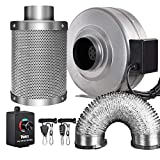 iPower GLFANXINL4FILT4MD8CTR 4 Inch 190 CFM Inline Fan Carbon Filter 8 Feet Ducting Combo with Variable Speed Controller and Rope Hanger for Grow Tent Ventilation, 4' Fan & Filter, Grey