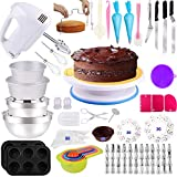 Cake Decorating Supplies 238 PCS Baking Set with Electric Hand Mixer Mixing Bowls Cake Pans, Cake Rotating Turntable, Muffin and Cupcake Pans,Cake Decorating Kits for Beginners and Cake Lovers