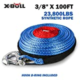 X-BULL SK75 3/8' x 100ft Dyneema Synthetic Winch Rope with Hook Car Tow Recovery Cable(23,809 Lbs,Blue) (Blue)