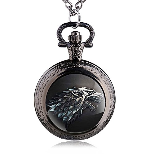 HWCOO Relojes De Bolsillo Game of Thrones Reloj de bolsillo de lobo Reloj de bolsillo de cuarzo Cuadro de pared por mayor (Color : 1)