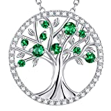 GinoMay May Birthstone Green Emerald Necklace Women Tree of Life Jewellery Birthday Gifts Mum Wife Sterling Silver Fine Jewellery