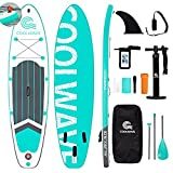 COOLWAVE 10'6' Inflatable Stand Up Paddle Board with Camera Seat, Accessories Including Waterproof Phonebag, Backpack, Bottom Fin for Paddling, Paddle, Non-Slip Deck, Hand Pump, Leash (Green)