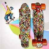 JIARUN recomendados Big Ghost Head Skateboard, Banana Board Drift Four-Wheel Single Tilt Skateboard-Water Transfer Proceso de impresión,Little Devil Head