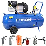 Hyundai HY30100V 3hp V-Twin Direct Drive Electric Compressor 14cfm, 100 Litre Steel Tank, Blue, Includes 5 Piece Air Tool Kit, 550 W, 230 V