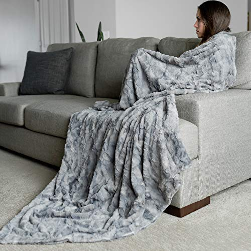 GRACED SOFT LUXURIES Oversized Softest Warm Elegant Cozy Faux Fur Home Throw Blanket 60' x 80', Marbled Gray