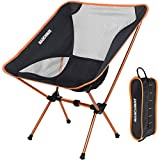 MARCHWAY Ultralight Folding Camping Chair, Portable Compact for Outdoor Camp, Travel, Beach, Picnic, Festival, Hiking, Lightweight Backpacking (Orange)