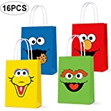 Party Favor Bags for Sesame Street Birthday Party Supplies, Party Gift Goody Treat Candy Bags for Sesame Street Party Favors Birthday Party Decor for Party Girls Kids Birthday Decorations - 16 PCS