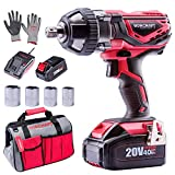 WORCRAFT 20V Cordless Impact Wrench Kit with Belt Hook, 1/2 inch, ETL CERTIFIED, Include 4.0Ah Battery, Fast Charger, 4 Sockets, Toolbag and Gloves