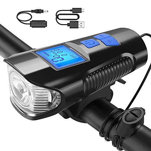 U UZOPI Luci Bicicletta LED Ricaricabili USB con Clacson, Luci Anteriori Potenti per Biciclette LED, IP6 Impermeabile con 4 modalit, Bici a LED per Bici da Strada e Montagna