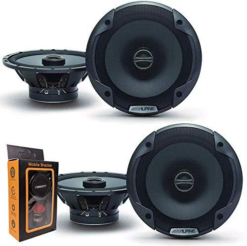 (2) Pairs of Alpine SPE-6000 120W 6.5' 2-Way Type-E Coaxial Speakers w/Silk Tweeters Plus Gravity Mobile Bracket Holder Bundle