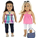 7 Pc. Casual Everyday Outfit Set Fits 18 Inch Doll Clothes Includes- X2 Pants, X2 Tops, Headband, Sun Glasses and Pocketbook