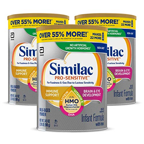 Similac Pro-Sensitive Non-GMO Infant Formula with Iron, with 2-FL HMO, for Immune Support, Baby Formula, Powder, 34.9 oz, 3 Count (One-Month Supply)