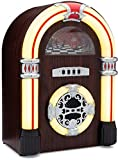 ClearClick Jukebox Bluetooth Speaker with Lights and Aux-in - Retro Style with Handmade Wooden Exterior