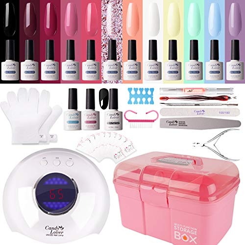 Gel Nail Polish Kit with 36W Lamp - Candy Lover 10ml Macaroon Colors with Base Top Coat Matte Top UV/LED Nail Gel Polish Set, Winter Spring Nail Art Accessories Free Storage Box Starter Gift